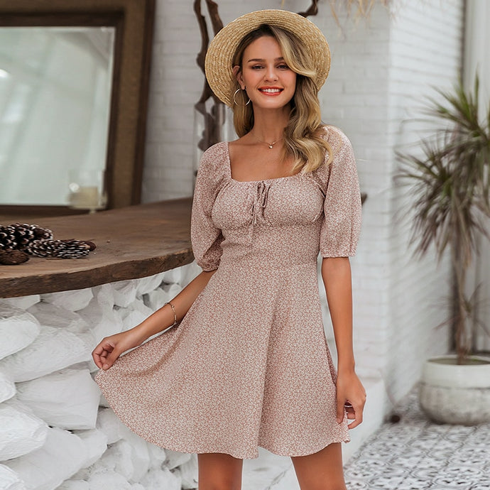 Anabella Cute Square Neck Patterned Casual Mini Dress