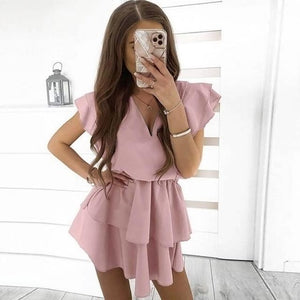 Cute Summer Outfit Ideas for Teens - Ruffle Tie Up Mini Dress - www.GlamantiBeauty.com #outfits