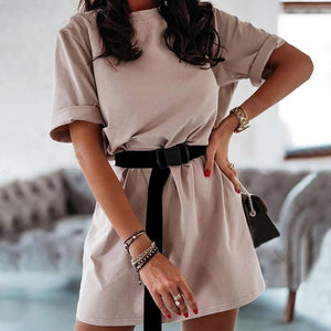 trending summer 2020 outfit ideas for teen girls - casual comfy t shirt mini dress with utility belt - www.GlamantiBeauty.com #outfits