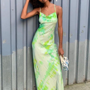 Fancy Classy Green Tye Dye Satin Midi Dress - Evening Party Going Out Outfit Ideas for Women - www.GlamantiBeauty.com