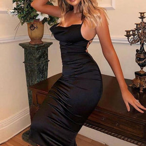 Fancy Classy Black Satin Midi Dress - Evening Party Going Out Outfit Ideas for Women - www.GlamantiBeauty.com
