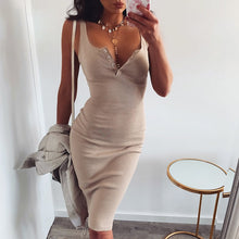 Cute Beige Summer Outfit Ideas for Teens Button Up Ribbed Tank Midi Dress - www.GlamantiBeauty.com