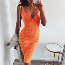 Cute Orange Summer Outfit Ideas for Teens Button Up Ribbed Tank Midi Dress - www.GlamantiBeauty.com