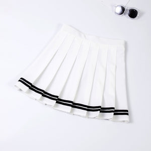 Serene Striped Pleated Mini High Waisted Tennis Skirt