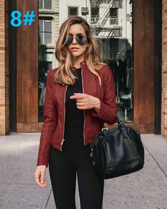 Red Edgy Trendy Leather Cropped Moto Jacked Fashion for Women - www.GlamantiBeauty.com #outfits