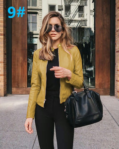Yellow Edgy Trendy Leather Cropped Moto Jacked Fashion for Women - www.GlamantiBeauty.com #outfits