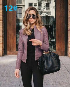 Purple Edgy Trendy Leather Cropped Moto Jacked Fashion for Women - www.GlamantiBeauty.com #outfits