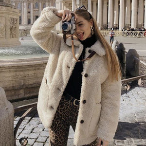 Casual Fall Outfit Ideas for Women - Cute Popular Sherpa Teddy Jacket Coat - www.GlamantiBeauty.com