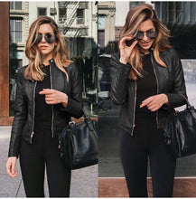 Black Edgy Trendy Leather Cropped Moto Jacked Fashion for Women - www.GlamantiBeauty.com #outfits