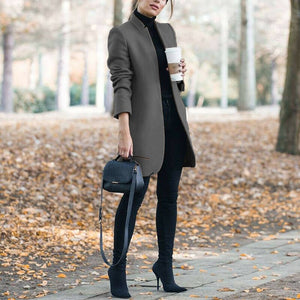 Classy Fall Outfit Ideas for Women - Elegant Peacoat Jacket in Dark Grey - www.GlamantiBeauty.com #outfits