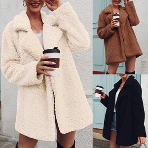 Cute Casual Winter Outfit Ideas for Women Notched Sherpa Teddy Jacket Coat - www.GlamantiBeauty.com #outfits