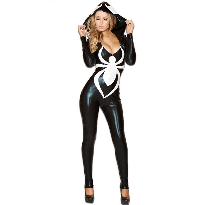 Venom Black Leather Jumpsuit Womens Halloween Costume - www.GlamantiBeauty.com