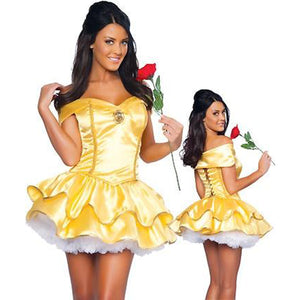 Disney's Beauty and the Beast Belle Short Dress Womens Halloween Costume - www.GlamantiBeauty.com