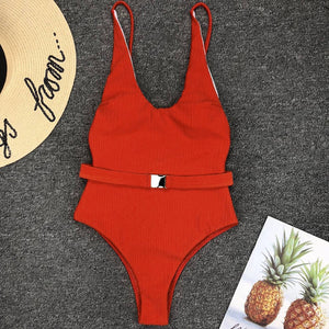 Alice Slimming Belted Monokini One Piece Swimsuit