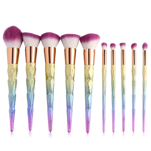 Makeup Brushes Professional Diamond Rainbow Face & Eyeshadow Diamond Makeup Brush Set 10pcs Unicorn Mermaid -  maquillaje de arcoiris brushese - www.GlamantiBeauty.com