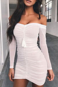 Hot Baddie Clubbing Party Dresses for Summer 2020 - Tight Black Mesh Mini Dress Rutched in Black or White - vestido de fiesta - www.GlamantiBeauty.com