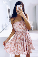 Jacey Cute Strapless Ruffle Floral Print Mini Dress