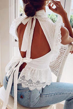Elegant Classy Spring Summer Outfit Ideas for Teen Girls for Women - White Peplum Backless Tie up Ruffle Top - www.GlamantiBeauty.com