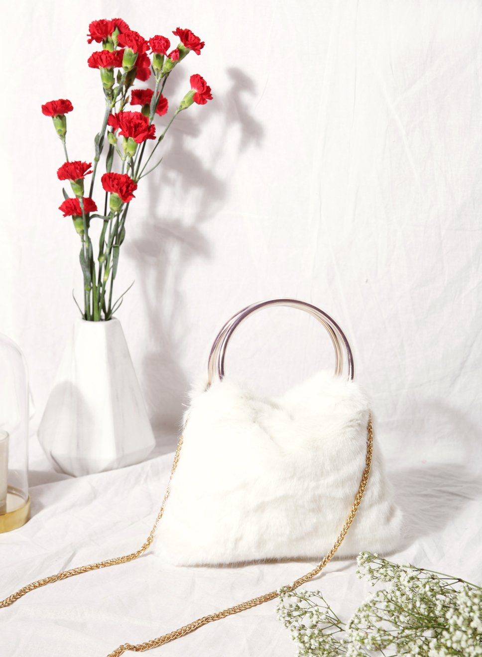 Harper Faux Fur Handle Clutch (White) - And Well Dressed