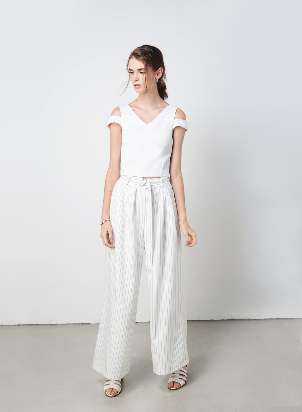 WEEKENDER Wide Leg Pants (Pinstripe White) at $ 18.30 only sold at And Well Dressed Online Fashion Store Singapore