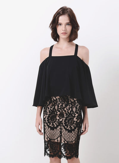 WAVE Cold Shoulder Flare Top (Black) - And Well Dressed
