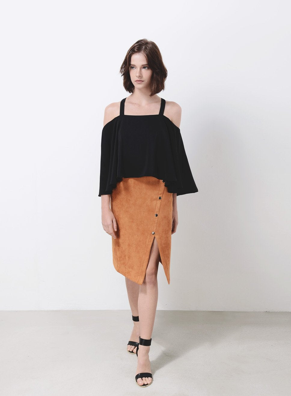 WAVE Cold Shoulder Flare Top (Black) at $ 15.20 only sold at And Well Dressed Online Fashion Store Singapore