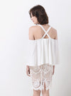 WAVE Cold Shoulder Flare Top (White) at $ 15.20 only sold at And Well Dressed Online Fashion Store Singapore