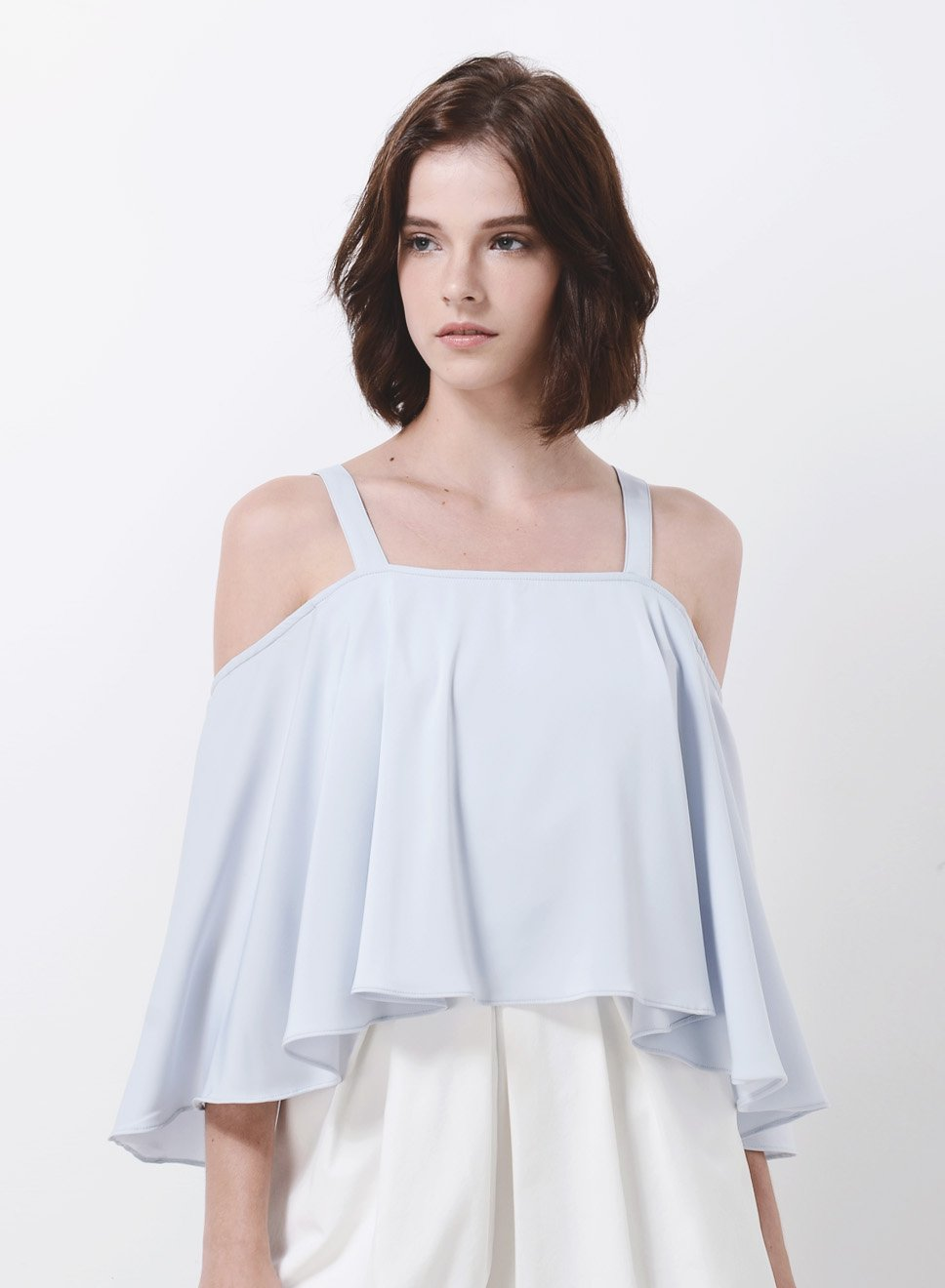 WAVE Cold Shoulder Flare Top (Sky) at $ 15.20 only sold at And Well Dressed Online Fashion Store Singapore