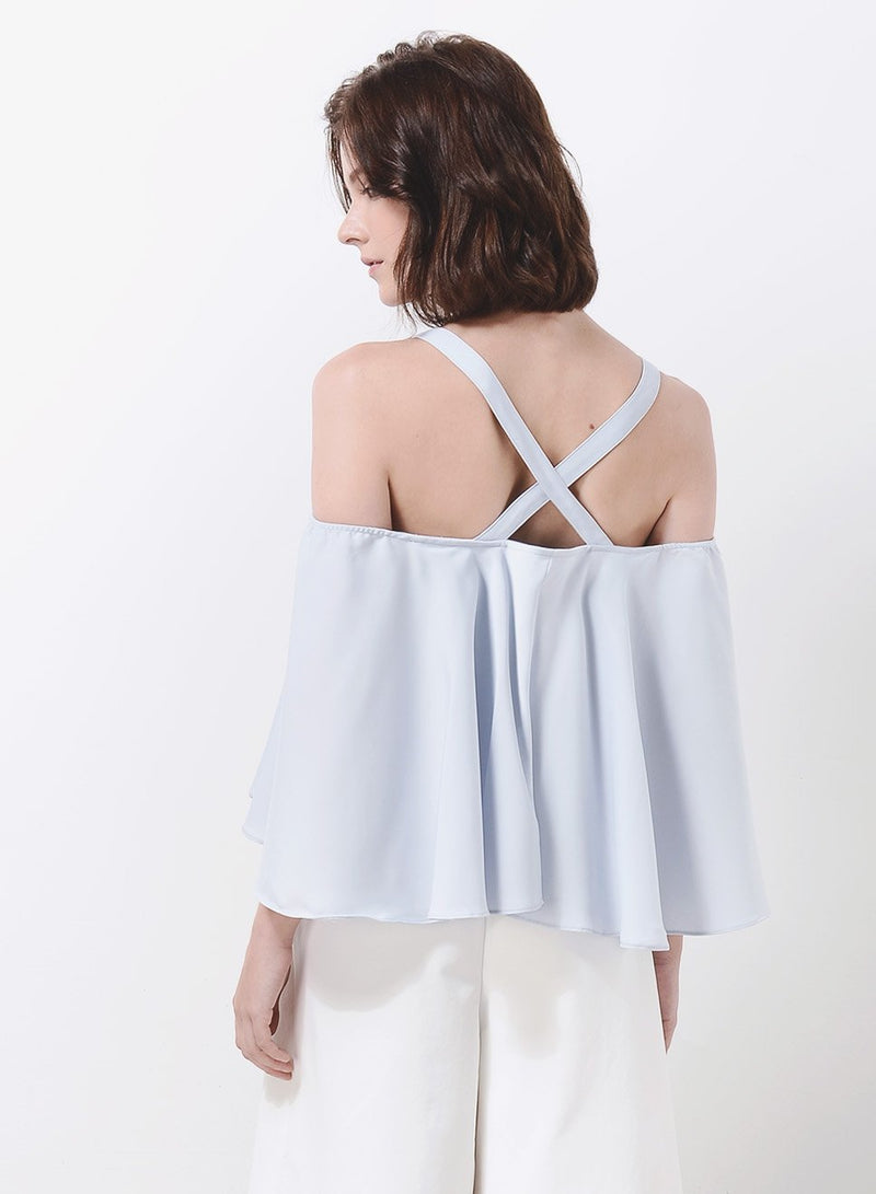 WAVE Cold Shoulder Flare Top (Sky) - And Well Dressed