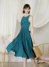 DIVINE Wrap Front Pleated Dress (Teal) at $ 48.50 only sold at And Well Dressed Online Fashion Store Singapore