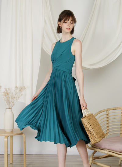 DIVINE Wrap Front Pleated Dress (Teal)