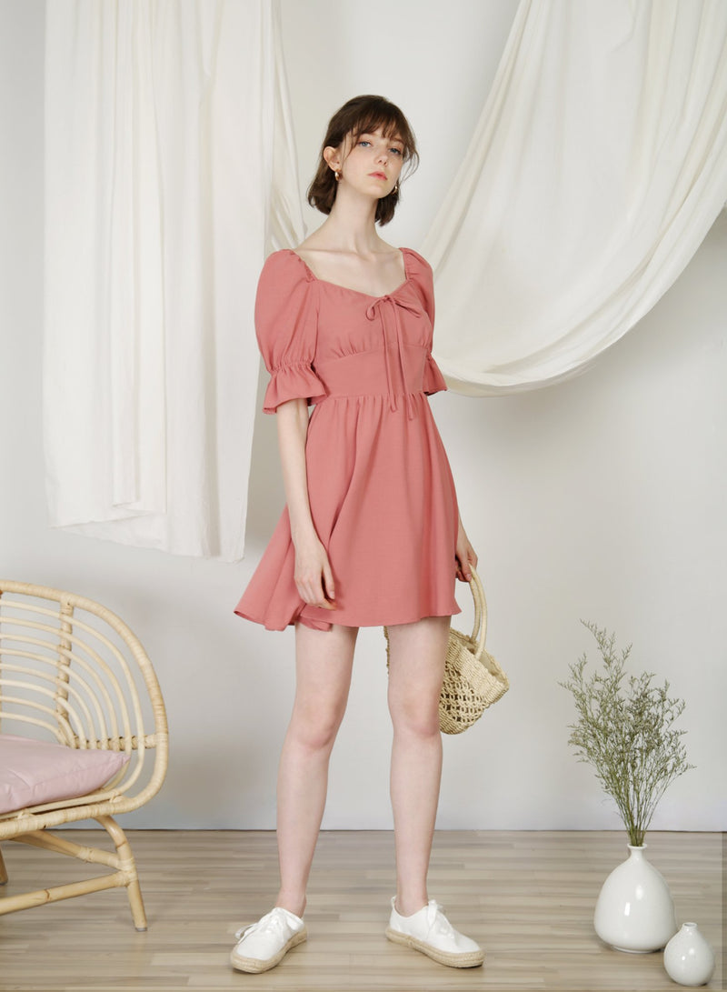 Cabin Puff Sleeves Dress (Rose) at $ 45.00 only sold at And Well Dressed Online Fashion Store Singapore