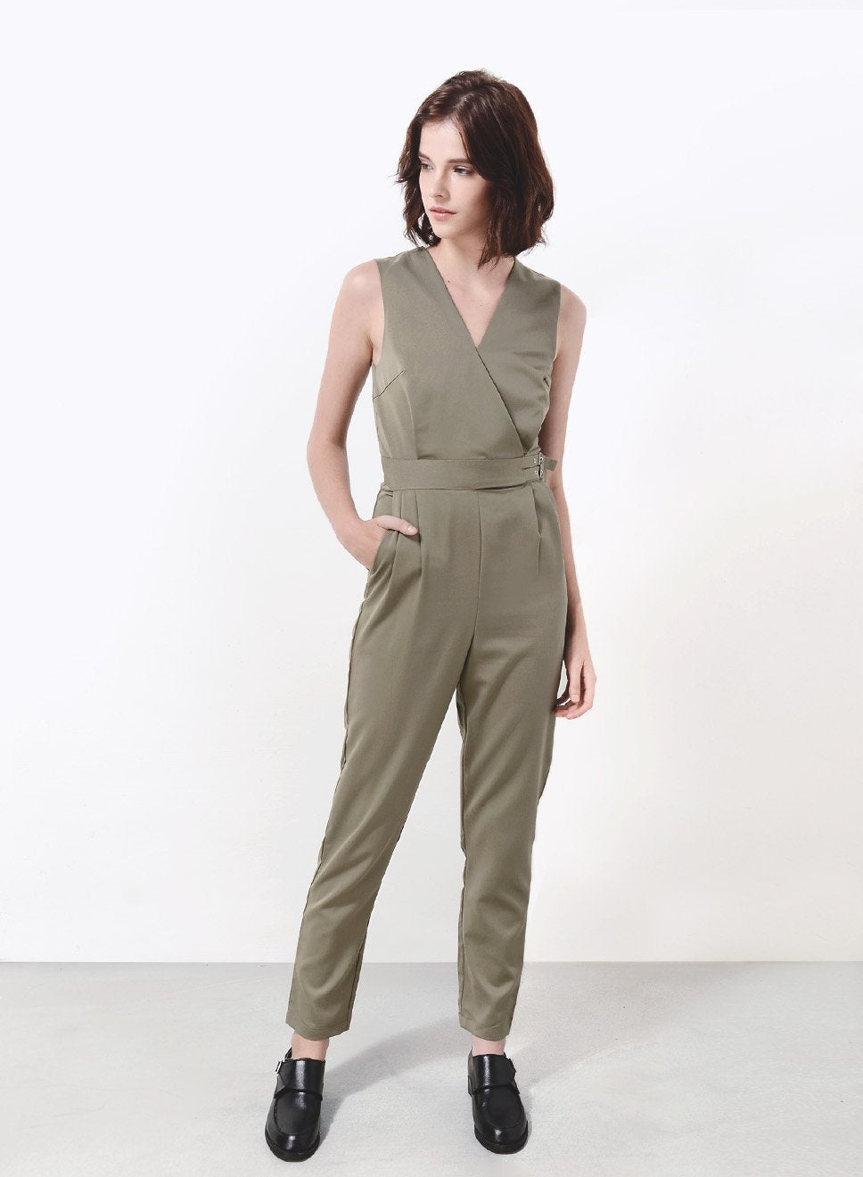 STUDIO Buckle Sides Jumpsuit (Olive) - And Well Dressed