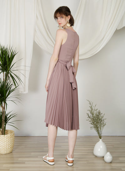 DIVINE Wrap Front Pleated Dress (Dove Purple) at $ 48.50 only sold at And Well Dressed Online Fashion Store Singapore