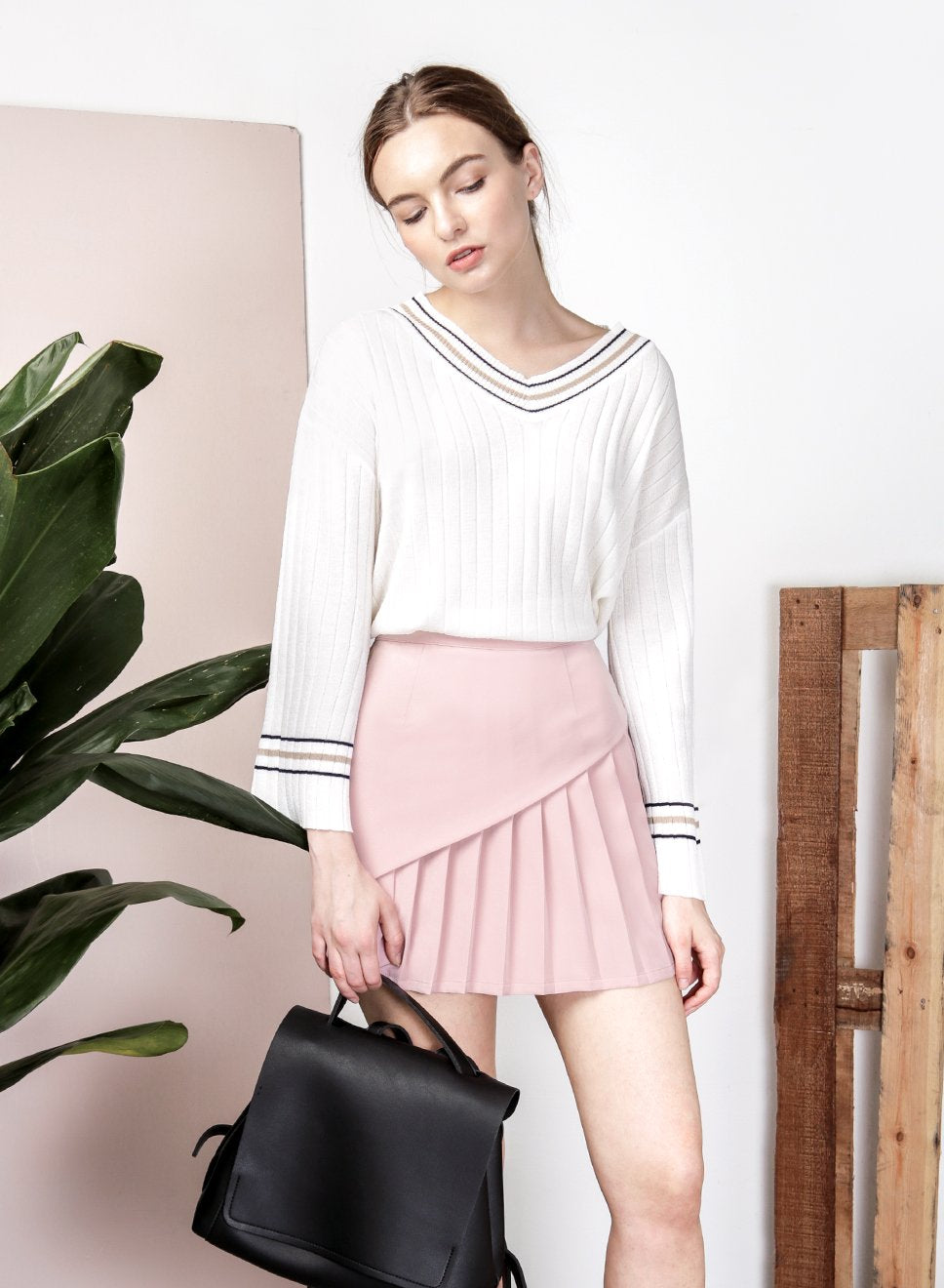 SAGE Overlap Pleat Skirt (Mauve) at $ 21.50 only sold at And Well Dressed Online Fashion Store Singapore