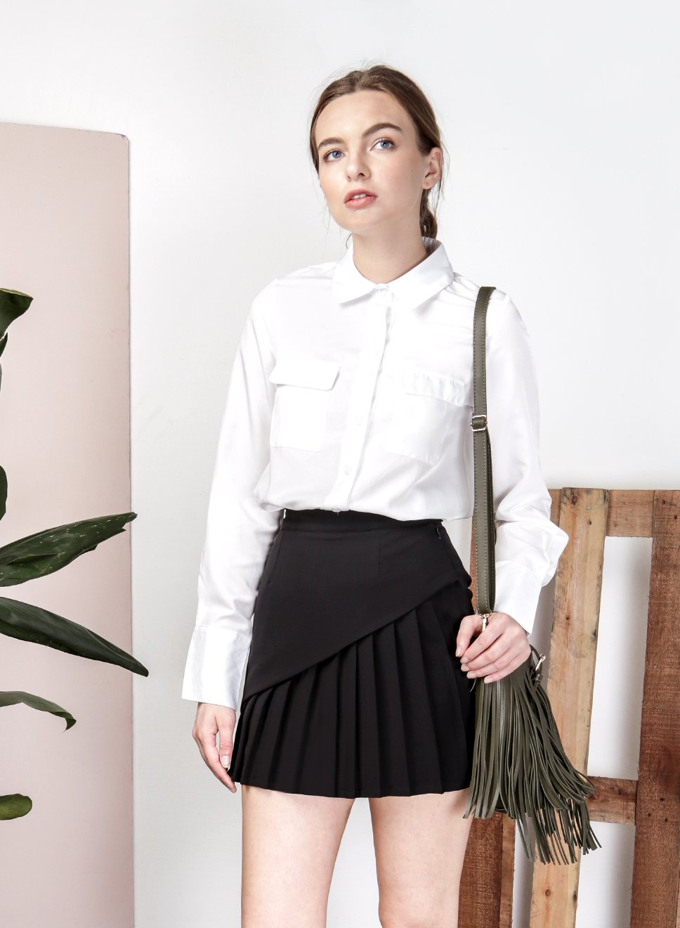 SAGE Overlap Pleat Skirt (Black) - And Well Dressed