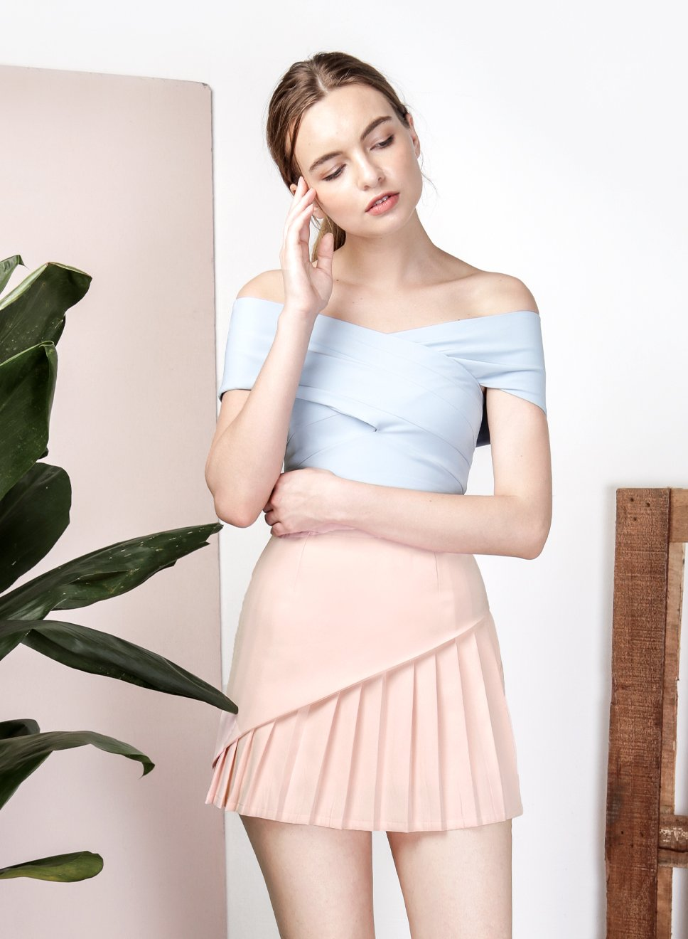 SAGE Overlap Pleat Skirt (Peach Rose) at $ 21.50 only sold at And Well Dressed Online Fashion Store Singapore
