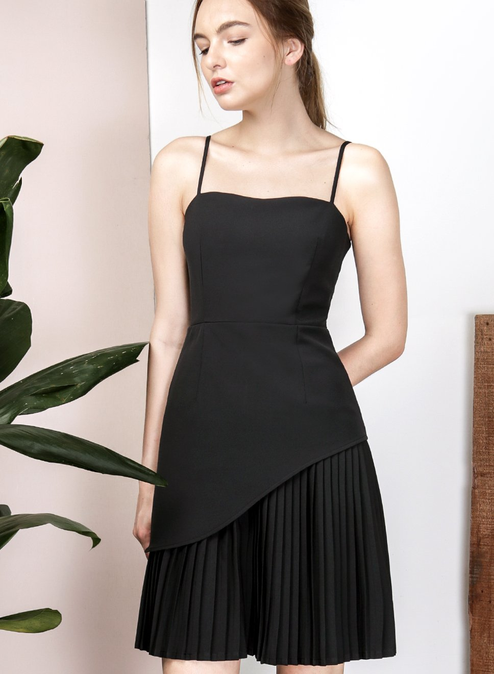 PERIPHERAL Curved Hem Pleated Dress (Black) - And Well Dressed