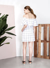 THEORY Off Shoulder Checks Dress (White) at $ 22.00 only sold at And Well Dressed Online Fashion Store Singapore