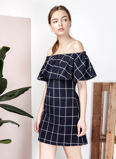 THEORY Off Shoulder Checks Dress (Navy) at $ 22.00 only sold at And Well Dressed Online Fashion Store Singapore
