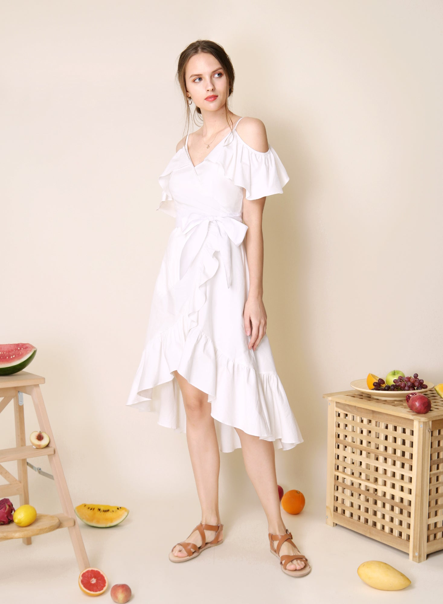 Mesmerise Cold Shoulder Ruffle Dress (White)