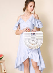 Mesmerise Cold Shoulder Ruffle Dress (Sky) at $ 45.50 only sold at And Well Dressed Online Fashion Store Singapore