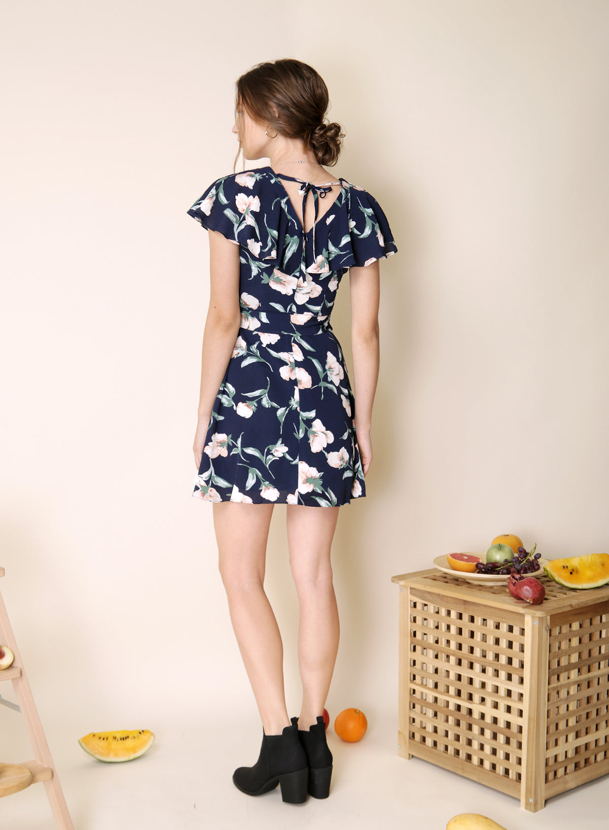 Rustic Button Down Floral Dress (Navy)