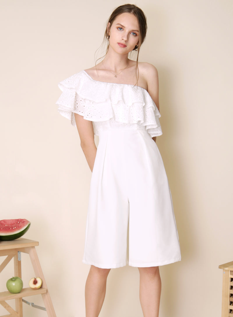 Infatuate Tiered Eyelet Jumpsuit (White) - And Well Dressed