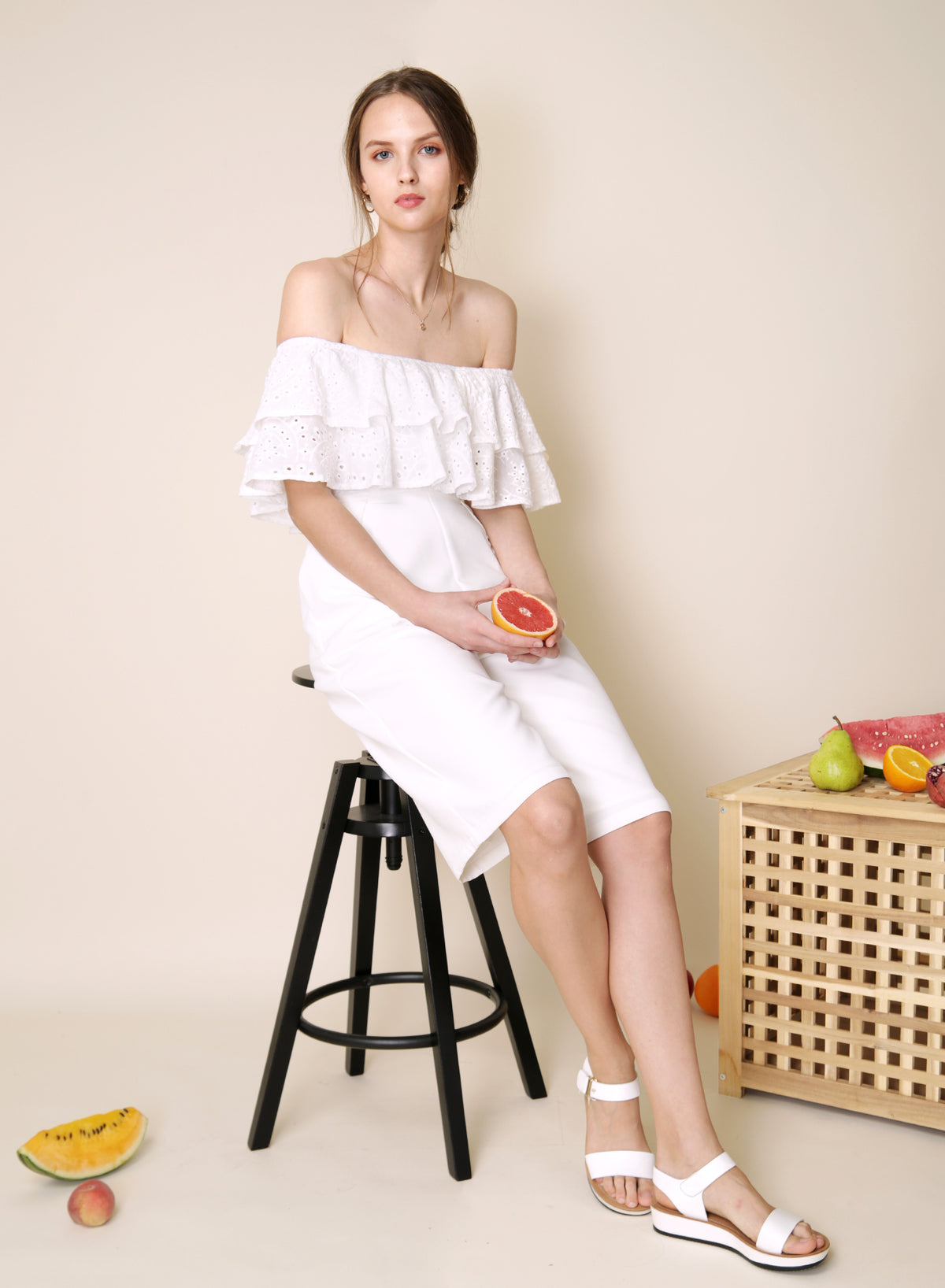 Infatuate Tiered Eyelet Jumpsuit (White) at $ 42.50 only sold at And Well Dressed Online Fashion Store Singapore