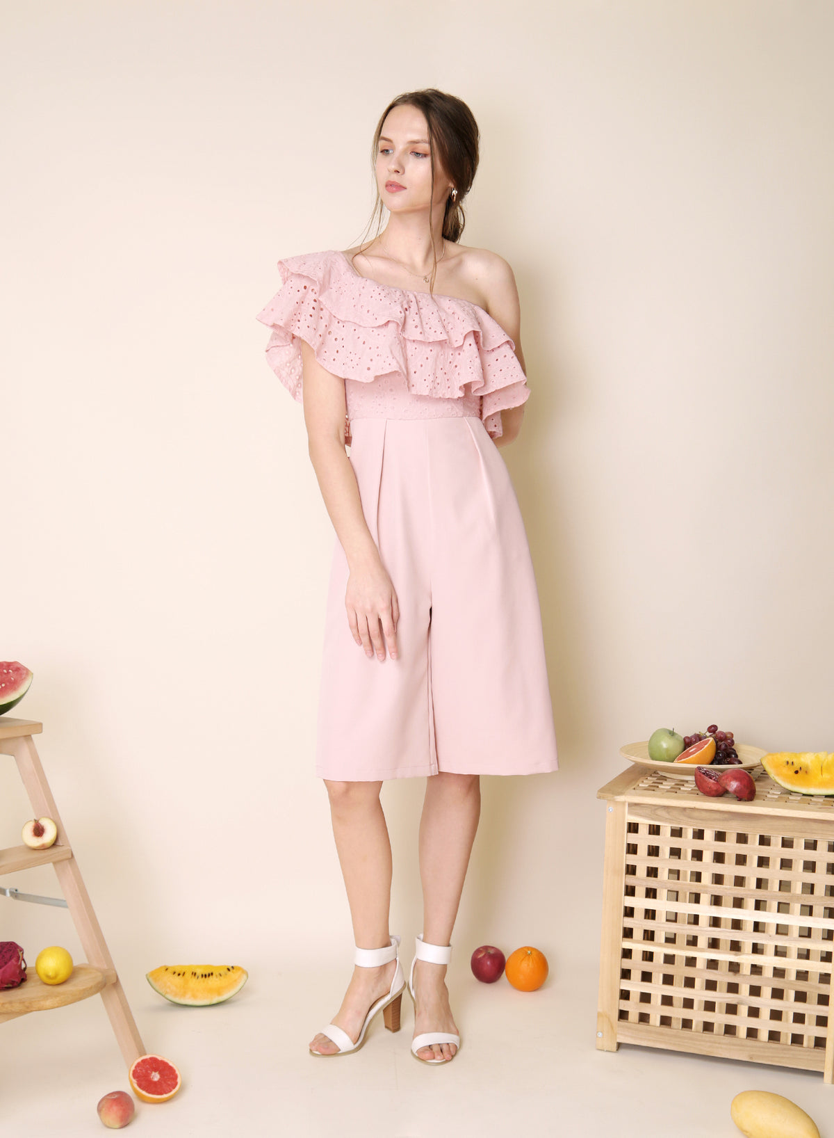 Infatuate Tiered Eyelet Jumpsuit (Mauve) at $ 42.50 only sold at And Well Dressed Online Fashion Store Singapore