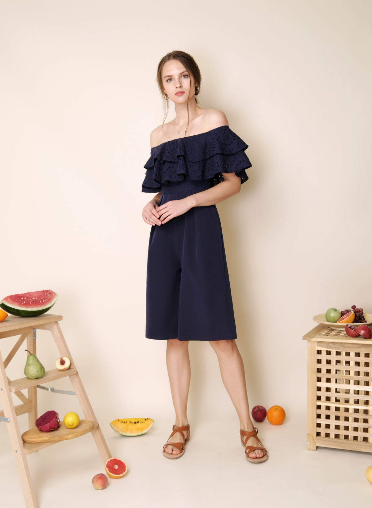 Infatuate Tiered Eyelet Jumpsuit (Navy) at $ 42.50 only sold at And Well Dressed Online Fashion Store Singapore