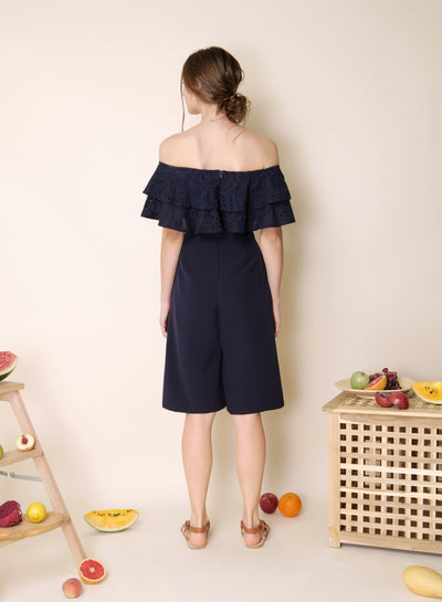 Infatuate Tiered Eyelet Jumpsuit (Navy) - And Well Dressed