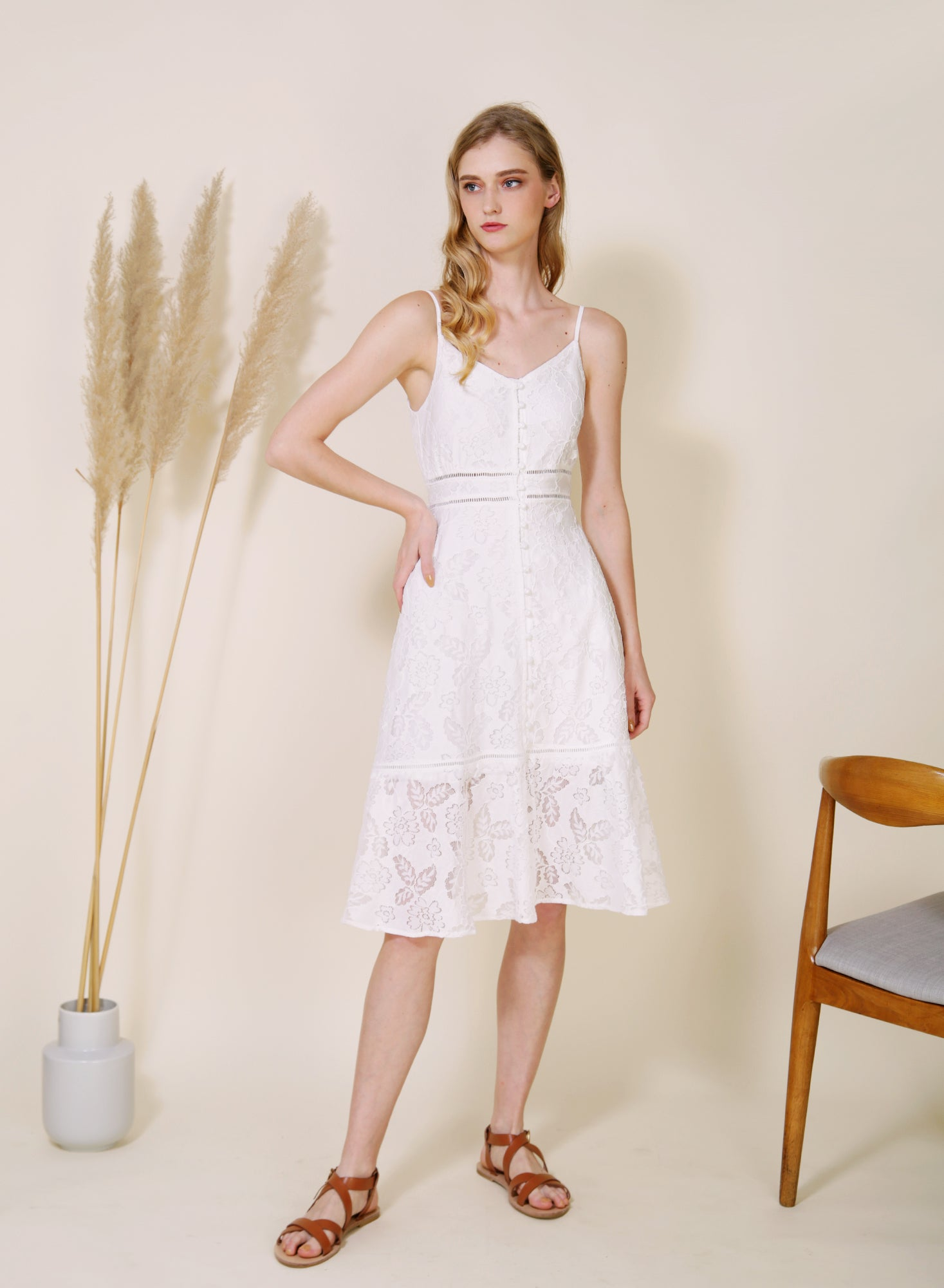 Ardour Button Down Lace Dress (White)