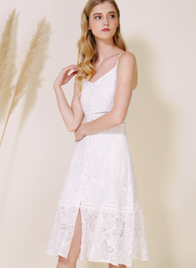 Ardour Button Down Lace Dress (White) at $ 48.00 only sold at And Well Dressed Online Fashion Store Singapore